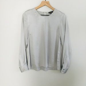 VINCE CAMUTO silver long sleeve blouse